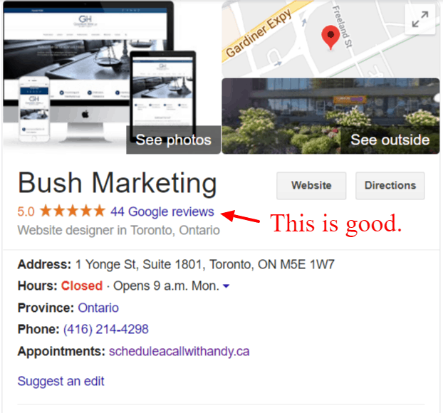 Google Reviews web design Toronto - Bush Marketing